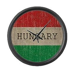 CafePress Vintage Hungary Flag Large 17 Round Wall Clock, Unique Decorative Clock