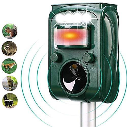 HLIGHT Garten Solarbetriebene Ultraschallaußentiervertreiber Motion Sensor Blitz-LED