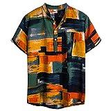 CAOQAO Hombre Camisa de Manga Corta Hawaiano Funky Impreso Estilo Informal de Playa Suelta