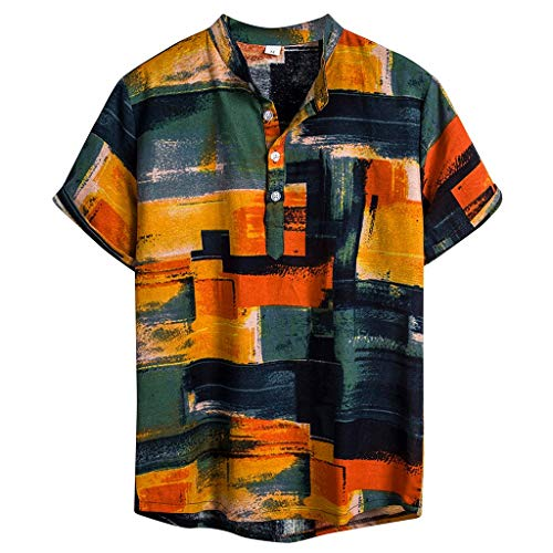 Herren Relaxed-fit Silk/Linen Tropical Hawaiian Shirt Casual Kragen Brusttasche Unisex Kurzarm Beach Shirt