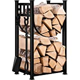 Amagabeli Fireplace Log Rack with 4 Tools Fireside Indoor Firewood Holders Lumber Storage Outdoor Stacking Wrought Iron Logs Black