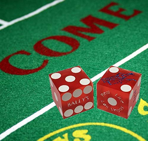 Cyber-Deals Wide Selection Craps Bundle Set: Las Vegas Style Felt Layout + Pair 19mm Authentic Nevada Casino Table-Played Dice (Bally's (Red Frosted))