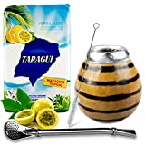 Juego de té mate: Yerba Mate Taragui Maracuya Tropical 0,5 kg | Vaso mate de calabaza (tigre), hecho a mano – Kalebass, pajita mate de acero inoxidable – Bombilla | Cepillo de limpieza