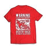 lepni.me Camisetas Hombre Carrera de la Muerte: Paseo definitivo, Carreras de Motos, Motorista de cráneo, clásico, Vintage, Moto Retro (XX-Large Rojo Multicolor)