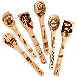 Riveira Organic Wooden Spoons for Cooking Utensils Set 6-Piece Magic Wizard Harr Potter Kitchen Utensils Gift Spatulas for Nonstick Cookware Gifts for Cooking Lovers