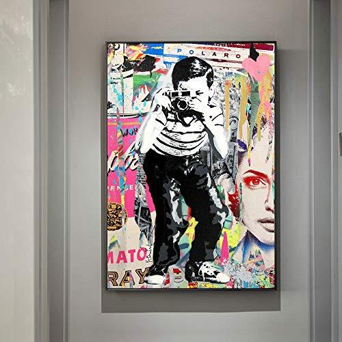 Sanzangtang De jongen, de fotostraatkunst-zeildoekschilderij popgraffitikunst-canvasdruk op de muur van de kinderkamer-wanddecoratie zonder lijsting neemt