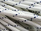 Yacht Braid Polyester Rope ½ inch by 100 feet, White Blue