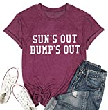 Sun's Out Bumps Out Shirt Women Maternity Pregnancy Funny Saying T-Shirt Summer Short Sleeve Casual Tops Tees
