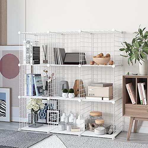 HOMEYFINE, Organizador de Cubos de Alambre (9 Cubos), estantería metálica Modular, multifunción, Bricolaje, estanterías de Almacenamiento portátiles para el salón, la Oficina,Blanco