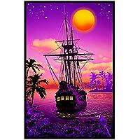 GZSBYJSWZ サンセットコーブ-海賊船アートプリントポスターキャンバス絵画アートワークアート印刷ポスター壁アート写真家の壁の装飾-50X70Cmx1フレームなし