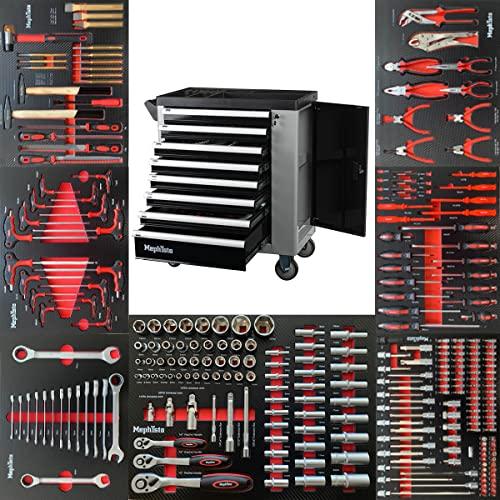 Mephisto XXL Werkzeugwagen Werkstattwagen mit 8 Schubladen davon 7 mit Werkzeug wie Schraubenschlüssel, Ratsche mit Nusskasten, Schraubendreher usw. in Soft Inlays in Carbonoptik befüllte Schubladen