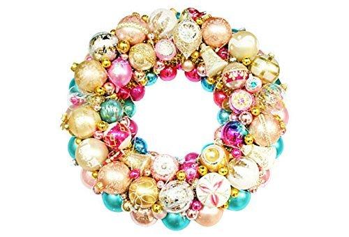 Vintage Aqua Pink Christmas Holiday Ornament Wreath