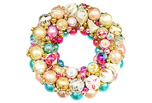 Vintage Aqua Pink Christmas Holiday Ornament Wreath