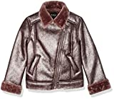 GUESS Girls' Big Scattered Pearl Moto Jacket, Rosy Brown, 7