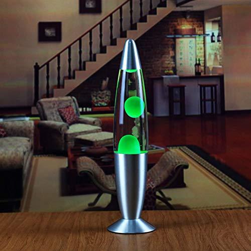 Alician Lavalampe mit Metallsockel, Nachtlicht, für Schlafzimmer, Dekoration, europäische Verordnung, grünes Wachs, Heimdekoration