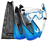 Phantom Aquatics Rapido Boutique Collection Full Foot Fins Bundled with Panoramic View Tempered Glass Lens Mask Fin Snorkel Set with Snorkeling Gear Travel Bag - BL - 42