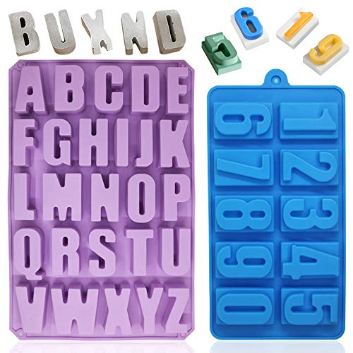 26 Cavities Alphabet Silicone Mold,DanziX Capital Letter Cake Baking Pan Muffin Cups Handmade Soap Moulds Chocolate Biscuit Ice Cube Tray DIY Molds with 1 Pack Numbers Baking Mold-Purple and Blue
