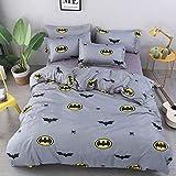 Queen Duvet Cover Set with 1 Duvet Cover 2 Pillow Covers 1 Flat Sheet, Printed Cartoon Pattern Bat Duvet Cover Set Bat Bedding Set for Teens Boys Girls (No Comforter)