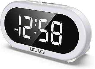 OCUBE - Despertador digital LED con 5 tonos de alarma opcionales, puerto de carga USB