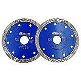 SHDIATOOL Disco Tronzador de Diamante 2 Piezas 115mm con X Malla Turbo Hoja de Sierra para Porcelana Azulejos Cerámica Mármol