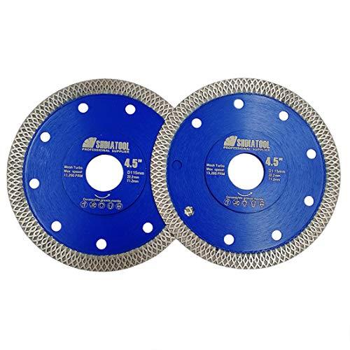 SHDIATOOL Disco Diamantato 2 Pezzi 115mm con X Mesh Turbo per Porcellana Piastrella Ceramica Granito Marmo