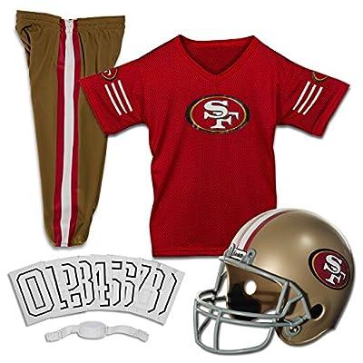 Franklin Sports San Francisco 49ers Kids Football Uniform Set - NFL Youth Football Costume for Boys & Girls - Set Includes Helmet, Jersey & Pants - Small