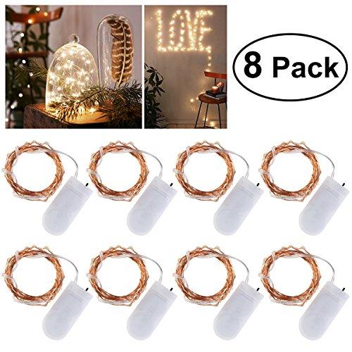 Ledmomo, 8 Catene Luminose, Con 20 Micro LED, Funzionamento A Batteria (In Dotazione), 2 M, Luce Bianca Calda