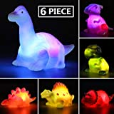 MAPIXO 6 Packs Light-Up Floating Dinosaur Bath Toys Set, for Baby Toddler Nephew in Birthday Christmas Easter , Great Water Bathtub Shower Pool Bath Toy for Children Preschool
