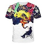 DREAMING-Starry Milk Impresión Digital Moda Casual Camiseta De Manga Corta Camisa De Hombre Y Mujer L