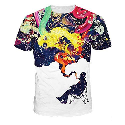 DREAMING-Starry Milk Impresión Digital Moda Casual Camiseta De Manga Corta Camisa De Hombre Y Mujer M