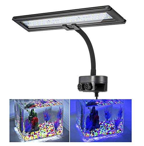Hygger 14 Inches Blue White LED Aquarium Light Clip on Small Led Light for Planted Saltwater Freshwater Fish Tank with Gooseneck Clamp 21W