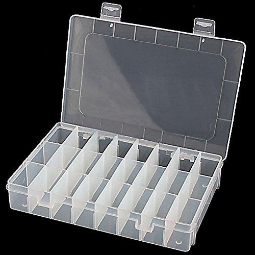 Homiki - Caja de almacenamiento plástico para joyas, 24compartimentos, utensilio ajustable, contenedor de usos múltiples.