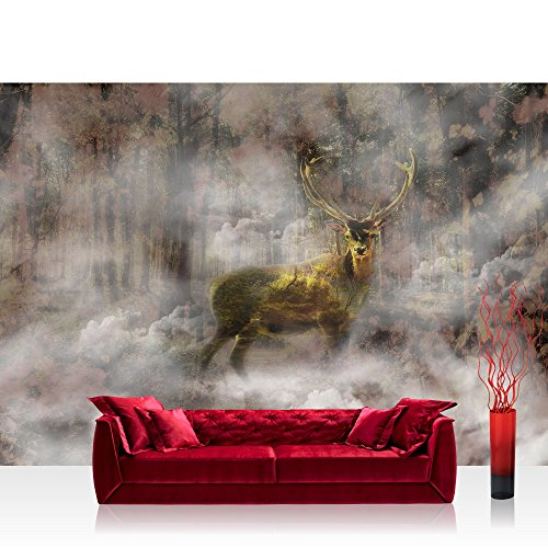Fototapete 254x184cm PREMIUM Wand Foto Tapete Wand Bild Papiertapete - Landschaft Tapete Hirsch Laubwald transparent Nebel bunt - no. 3187
