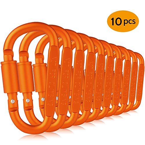 Paliston 10pcs Locking Carabiner Aluminum D Ring Hiking Clips for Hiking Camping Fishing and Outdoor Use (Orange)