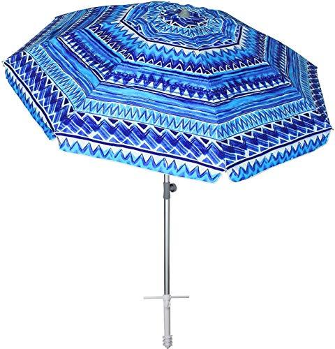 AMMSUN 7 ft Beach Umbrella with Sand Anchor Adjustable Height with Tilt Aluminum Pole, Portable UV 50+ Protection Beach Umbrella for Outdoor Patio