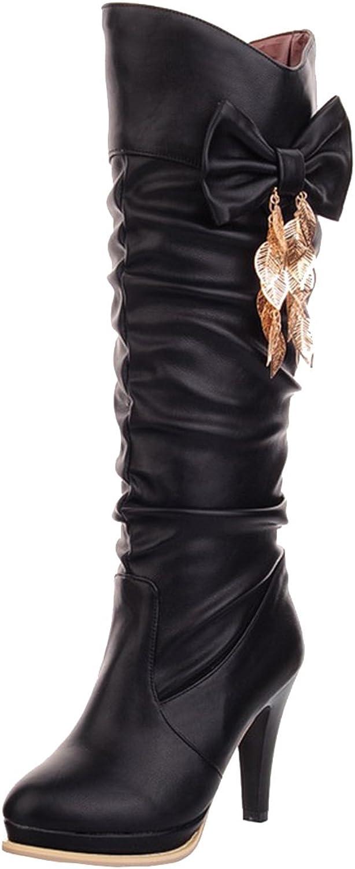 AIYOUMEI Women's Bowtie Round Toe Slip-on Thin Heels Autumn Winter Solid Knee High Boots