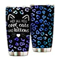 Leopard Print Hey All You Cool Cats And Kittens Tumbler Cup, Gift For Men, Women, Cat Lovers Stainless Steel Commuter Tumbler Cup, 20 Oz Mug For Coffee/Tea