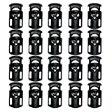 20pcs Black Plastic Spring Fastener Cord Lock End, Single Hole Spring Toggle Stopper for Drawstrings by VIW