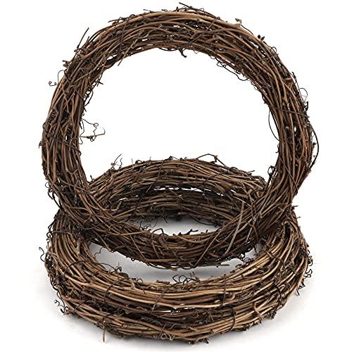 Hileyu 3 Pezzi retrò Ghirlanda di Natale Ghirlande della Vite Naturale Vite Ghirlanda del Ramo Ghirlanda in Rattan Ghirlanda del Rattan di Natale Corona Decorativa per Cancello Corona Decorativa 30cm