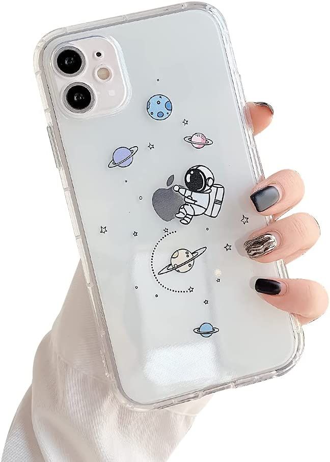 Ownest Compatible with iPhone 12 /iPhone 12 Pro Case for Clear Creative Astronaut Cute Cartoon Pattern for Boys Girls Soft TPU Protective Slim Shockproof Case for iPhone 12/12 Pro-Hug