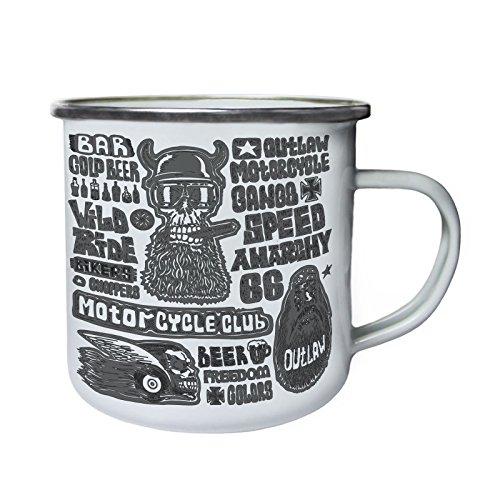 Motorrad Club Biker Kiker Kaltes Bier 66 Retro, Zinn, Emaille 10oz/280ml Becher Tasse w989e