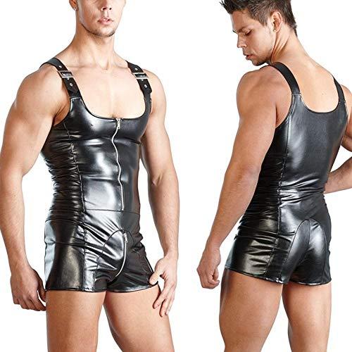 Heren bodysuit leer mannelijke lingerie spandex bodysuit rits kruis erotische lingere sexy nachtclubkleding jumpsuits turnpakje podium, XXL