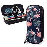 Summer Flamingo Palm Night Vibes Estuche para lápices tropical Estuche para lápices de gran capacidad Organizador de papelería para la oficina de la escuela, Estuche de maquillaje multifunción