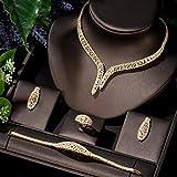 LIYDENG Joyas Sistemas De Boda Nupciales De Las Mujeres 4 PCS Pendiente Collar Anillo Pulsera Conjuntos Color Color (Color : Gold-Color)