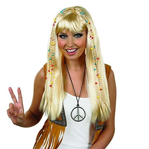 dames blonde gevlochten hippie pruik volwassenen 70er jaren hippie haar kostuum accessoires