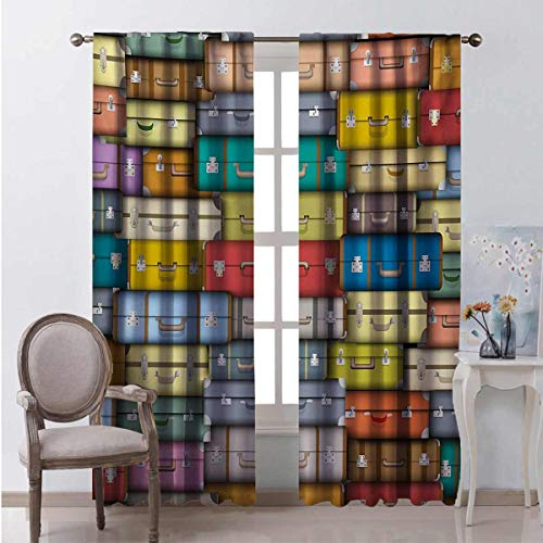 Toopeek Modern Bedroom rod pocket blackout curtains Colorful Suitcases Background Vintage Travel Voyage Holiday Themed Artful Design Living room color curtains 2 panels W108 x L96 Inch Multicolor