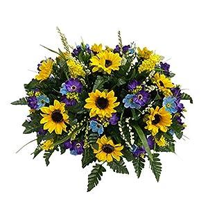 Sunflower Cemetery Flower Arrangement, Headstone Saddle, Grave, Tombstone Arrangement, Cemetery Flowers R60E