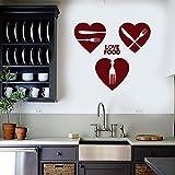 HGFDHG Amor Comida Etiqueta de la Pared Palabra corazón Chef Cocinero Cocina Comida Restaurante cafetería decoración de Interiores Cuchillo y Tenedor Ventana Vinilo Adhesivo