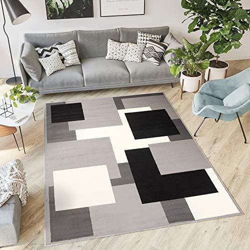 Tapiso Dream Alfombra para Salón Cuarto Diseño Moderno Gris Negro Crema Geométrico Cuadrados Pelo Corto 80 x 150 cm