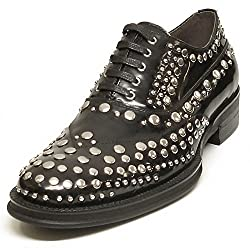 Black Leather Lace up Silver Studs - European Shoe Designs